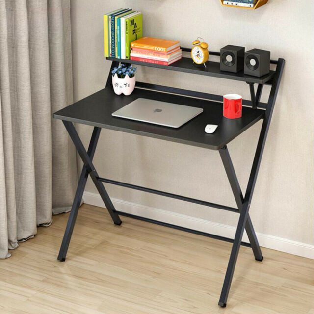 Foldable Computer Desk Folding Writers Table Fold Up Laptop Home Office Black