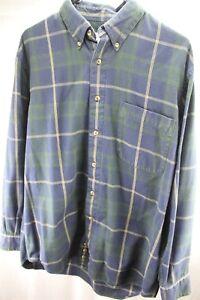 AKA-Eddie-Bauer-Green-Blue-Plaid-Medium-Cotton-Men-039-s-Long-Sleeve-Shirt
