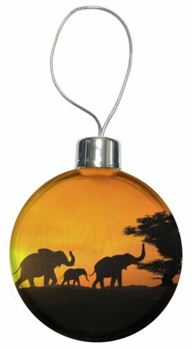 AE-4CB Elephants Silhouette Christmas Tree Bauble Decoration Gift