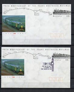 AUSTRALIE-TRAIN-Trans-railway-1992-2-entiers-postaux-1-neuf-et-1-obl-FDC