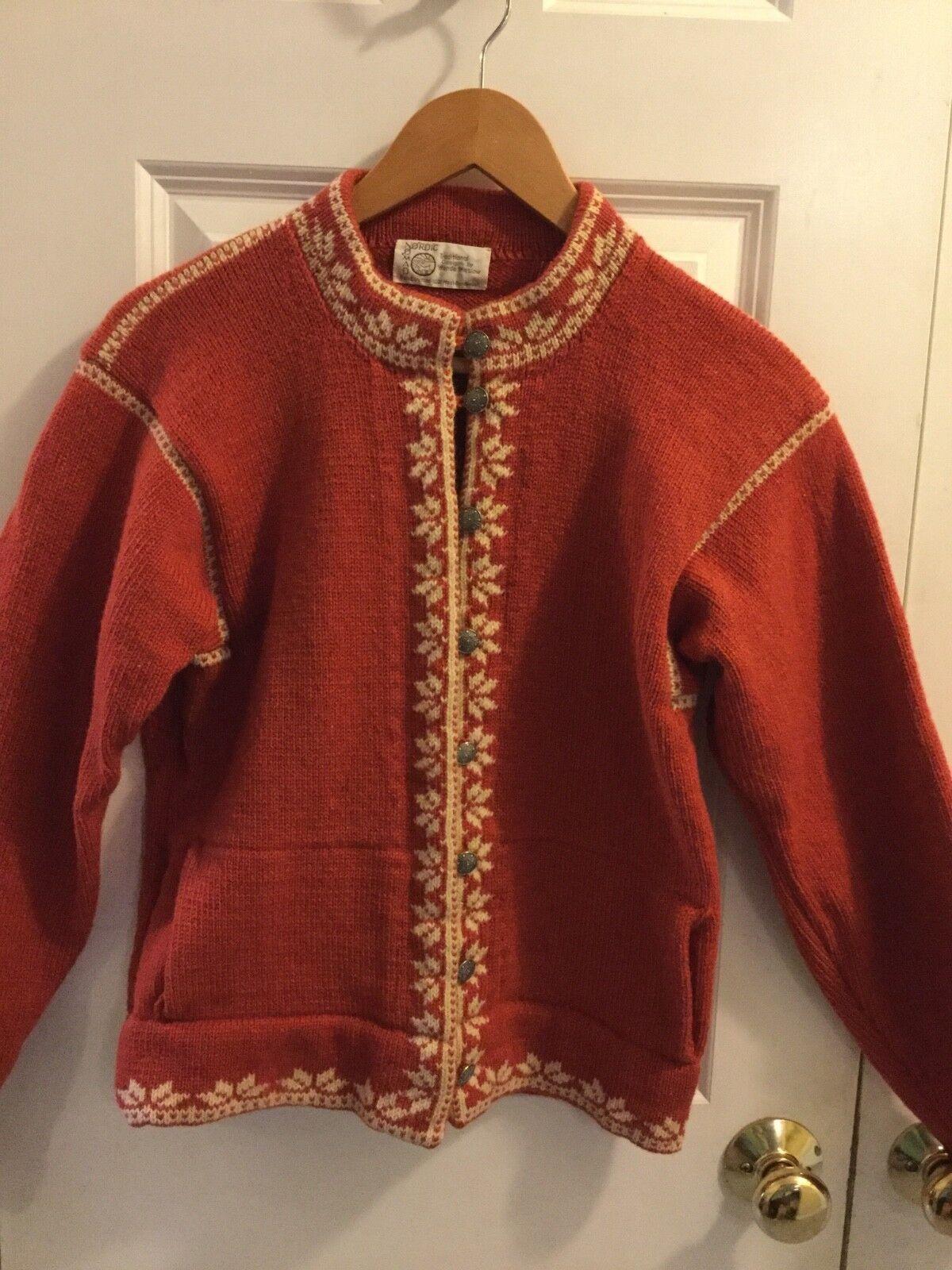 Nordic Nomad S Rust orange wool Cardigan Sweater Button Wende Winslow Vtg.