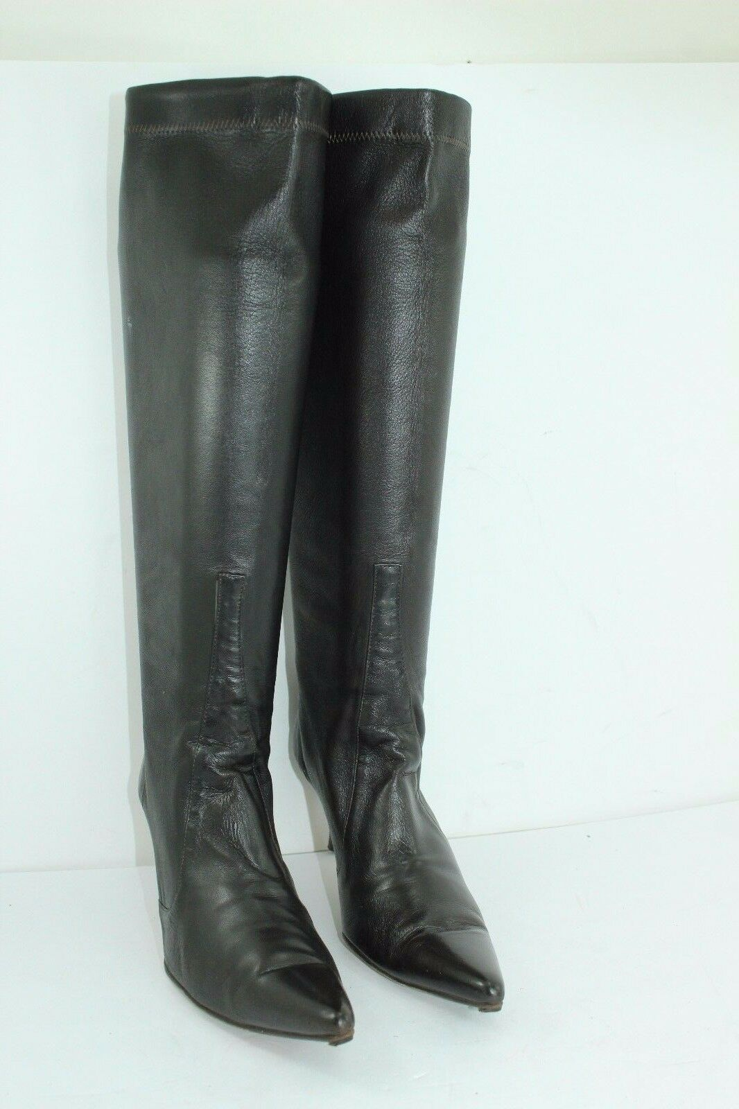 COLE HAAN Stiefel Größe 8B LEATHER SPANDEX DARK braunS IN GREAT CONDITION