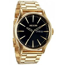 New Nixon Sentry SS Black Dial Gold-Tone Stainless Steel Mens Watch A356510