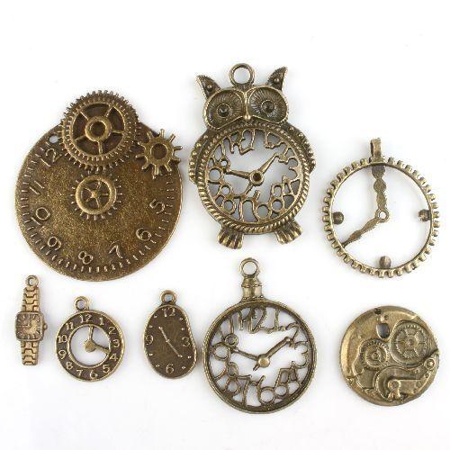 40pcs Mixed Lots Vintage Bronze Different Clock Charms Alloy Pendants Findings D