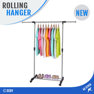 Image Is Loading PORTABLE CLOTHES HANGER RACK ORGANIZER STAINLESS STEEL  GARMENT
