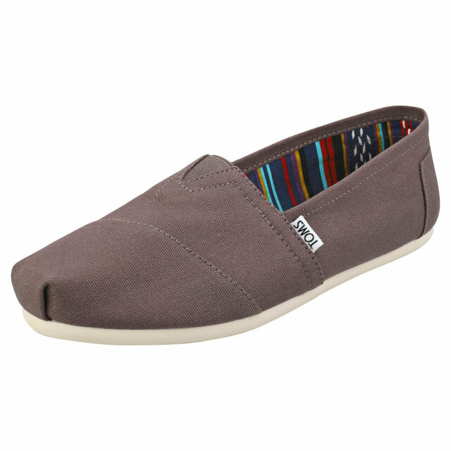 Toms Classic Womens Grey Canvas Slip On