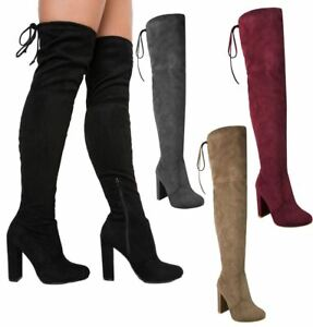 a9e46fb569e1 WOMENS LADIES THIGH HIGH BOOTS OVER THE KNEE PARTY STRETCH BLOCK MID ...