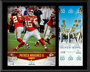 Patrick-Mahomes-Chiefs-12-034-x-15-034-Super-Bowl-LIV-Champs-Plaque-amp-Replica-Ticket
