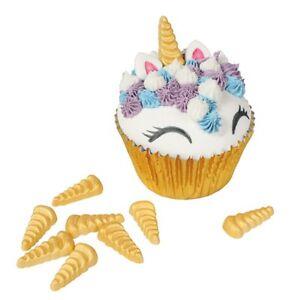 Gold Unicorn Horn Sugar Decoration 30mm X 10 Edible Cake