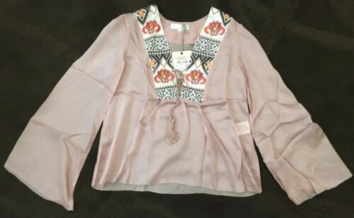 New Odd Molly Miss Word Powder 100/% Silk Blouse Top Size 1 4 small X-Large
