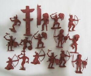 MARX-15-INDIANS-TOTEM-POLE-54mm-VINTAGE-FORT-APACHE-PLAYSET-FIGURES-RED-BROWN