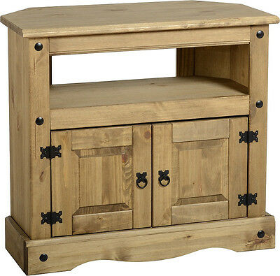 Corona TV Stand Two Door Cabinet Entertainment Unit Light Waxed Solid Pine