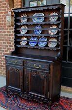 Antique French Oak Louis XV Style Plate Dresser Sideboard Cabinet Hutch Buffet