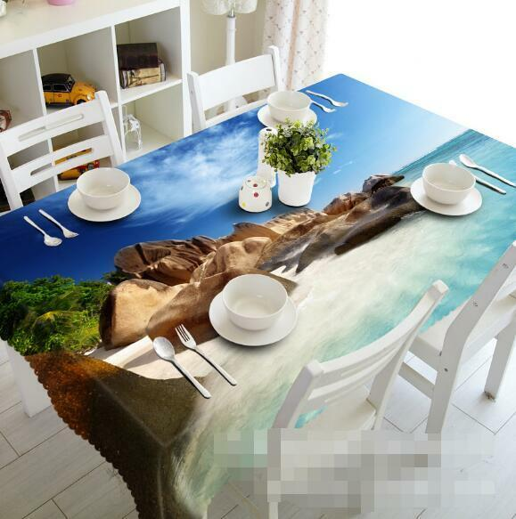 3D Seaside Stones Tablecloth Table Cover Cloth Birthday Party Event AJ WALLPAPER
