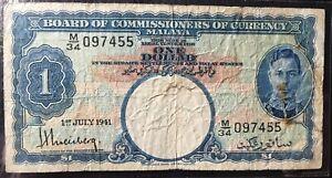 M/34 097455 Malaya KQVl 1941 $1 banknote vf-