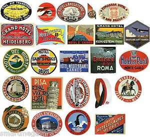 Old Fashioned Luggage Stickers