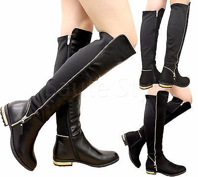 Ladies Womens Thigh High Stretch Over Knee Boots Gold Zip Trim Heel Shoes Size