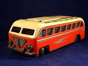 Ancien Rare Jouet Bus Tôle Toit Ouvrant Coulissant Gunthermann W. Germany 1950