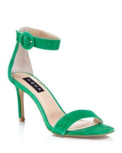 New  99 Aqua Private Label Seven vert Open Toe Suede Heels Taille 7.5 M