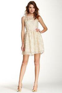 Details About Nwt Bb Dakota Elizabeth Dress Gold Ivory White Boatneck Lace Floral Overlay 10 M
