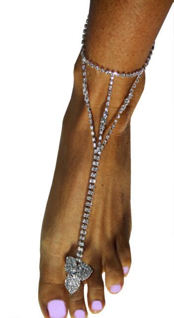 Slave Harems Barefoot Anklet Rhinestone Austrian Crystal Exotic Belly Dancer