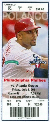 Raul Ibanez smacks walk-off homer in 10th 2011 Phillies vs Braves Ticket