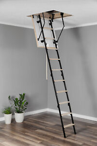4 Section Wood Timber Metal Folding Loft Ladder Amp Hatch