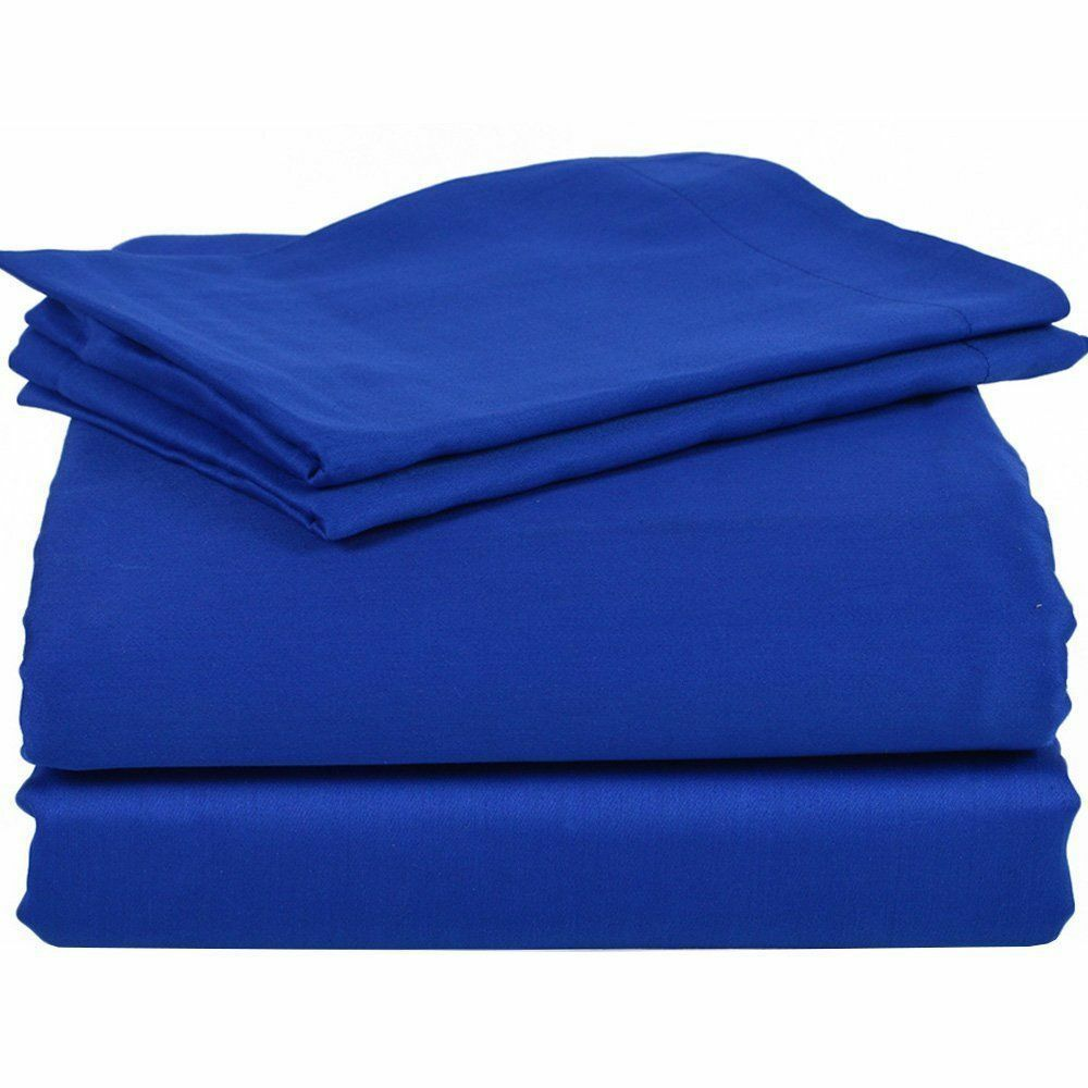 Elastic All Around Fits Fitted Sheet Egyptian Blau Solid Deep Pkt & Größes 1000TC