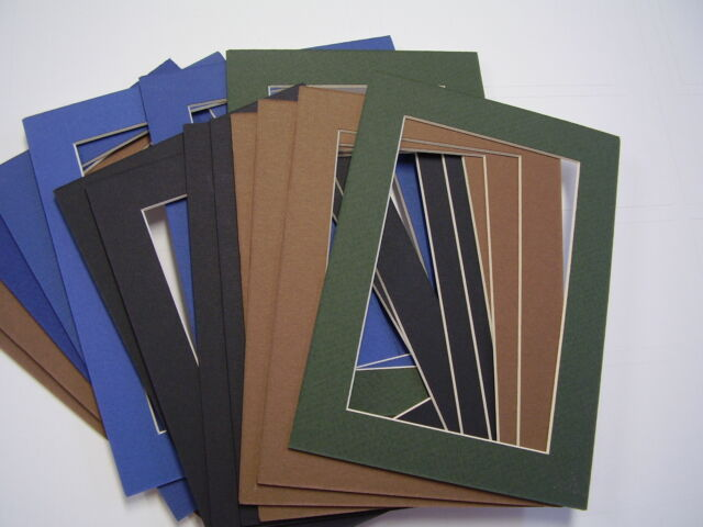 Picture Frame Mat 5x7 For Postcard 3 38 X 5 38 Muted Colors Set Of