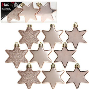 Details About 9pcs 60mm Rose Gold Christmas Tree Star Decorations Hanging Baubles Ornaments