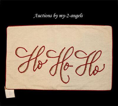 Pottery Barn Christmas Ho Ho Ho Embroidered Lumbar Pillow