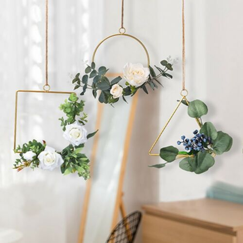 Artificial Wreath Metal Geometric Hoop Wreath Wall Hanging for Wedding Backdrop