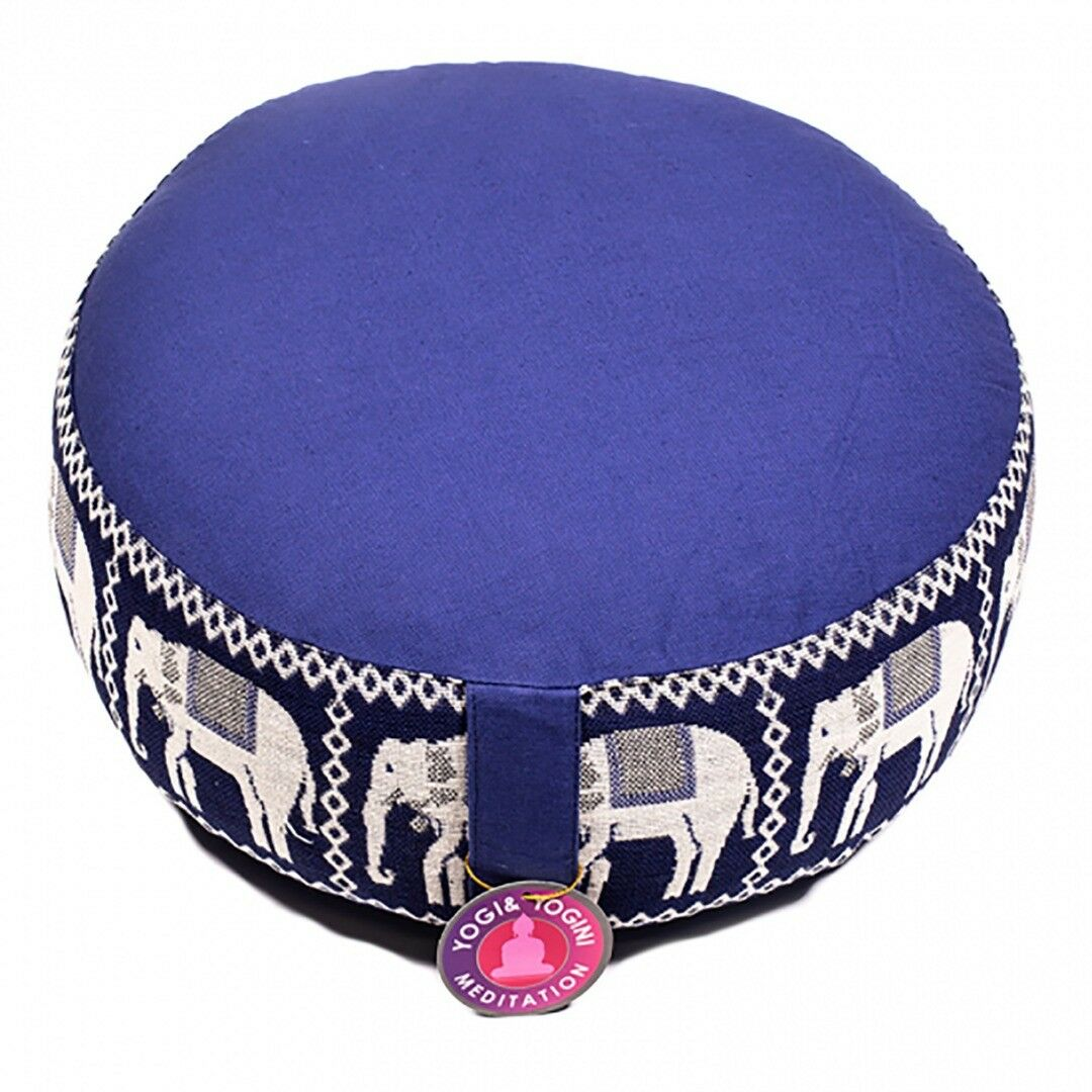 Round Meditation bluee Elephant Print Cushion  Dimensions  33cm ×16 cm