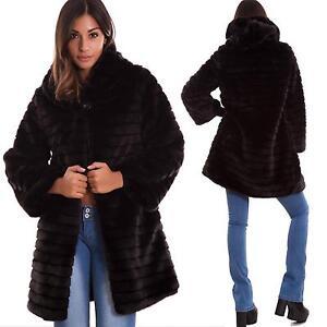 low priced 10516 acdd7 Dettagli su Pelliccia ecologica donna bottone cappuccio cappotto maniche  lunghe nuova 16009