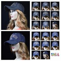 Denim Baseball Cap Vintage Jean Hat Plain Adjustable Ball Caps Unisex Ny La Sf