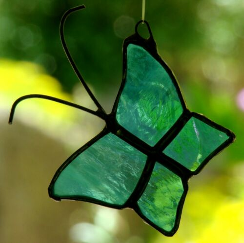 Sm PURPLE /& BLUE BUTTERFLY stained glass suncatcher GARDEN DECO FLUTTERBUG GIFTS