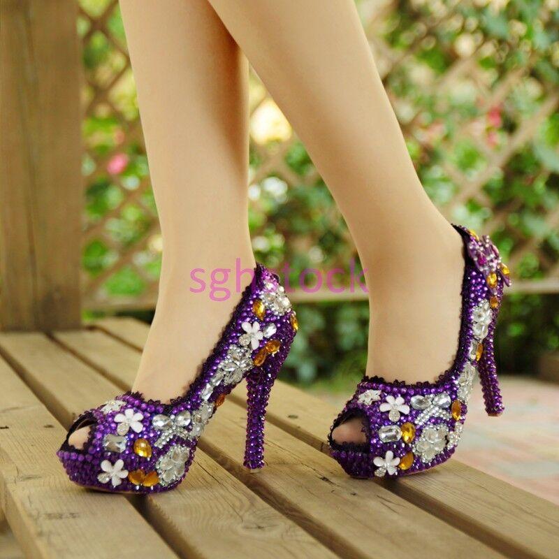 2017 Womens Platform Block High heel Pearls Rhinestone Peep teo Wedding shoes