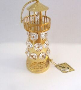 Figurine-Ornament-LIGHTHOUSE-24K-gold-plated-Austrian-crystals