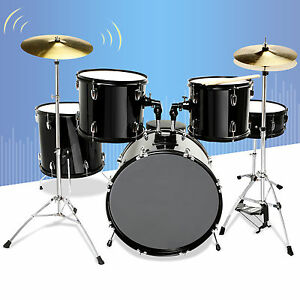 Black 5 Piece Complete Adult Drum Set Cymbals Full Size