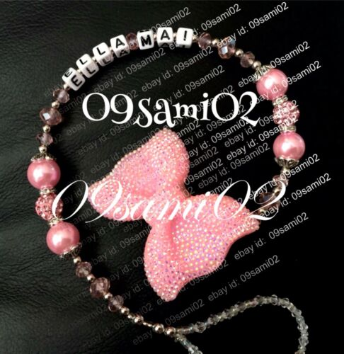 ❤ Personalised Girls Bling Dummy Clip Shamballa /& Crystal Glitter Bow Romany!!❤