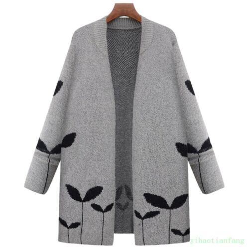 Women Outdoor Knit Mom Cardigan Mid Coat Leisure Spring Overcoat Loose Fleece
