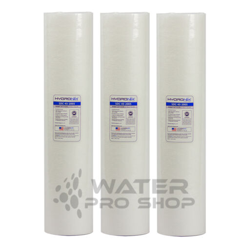 """REPLACEMENT THREE BIG BLUE SEDIMENT WATER FILTERS 4.5X20/"""" 1 MICRON 20/"""" Housing"""