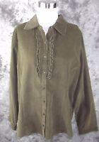 Krazy Kat Corduroy Shirt Xxl Olive Green Ruffle Juniors