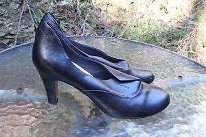 JOANNE-MERCER-Black-Leather-8-5-cm-Heels-Size-9-26-cm-insideTop-Condition