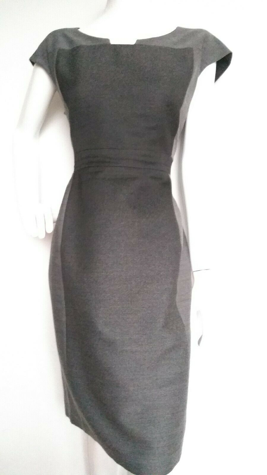 JAEGER panalled shift dress Größe 14 --VGC-- knee length wool blend grau ombre