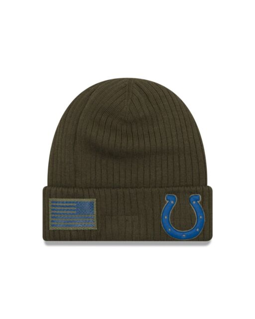Indianapolis Colts New Era 2018 Salute To Service Sideline Knit Hat - Olive c85d6d055