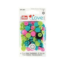 Prym Love  Color Snaps Druckknöpfe Blume 13,6 mm Farbe grün pink türkis 393081