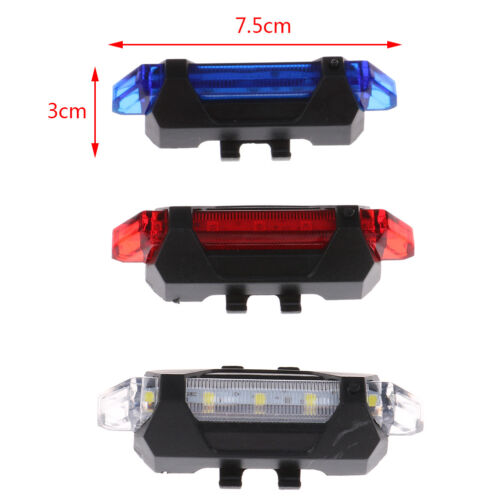 """5 Led Usb Rechargeable Bike Tail Light Bicycle Safety Cycling Warning/"""" RearFTPCA"""