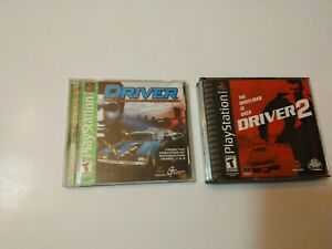Driver 1 & 2 (Sony PlayStation 1, 2000 PS1) Complete driver 2 small crack see pi