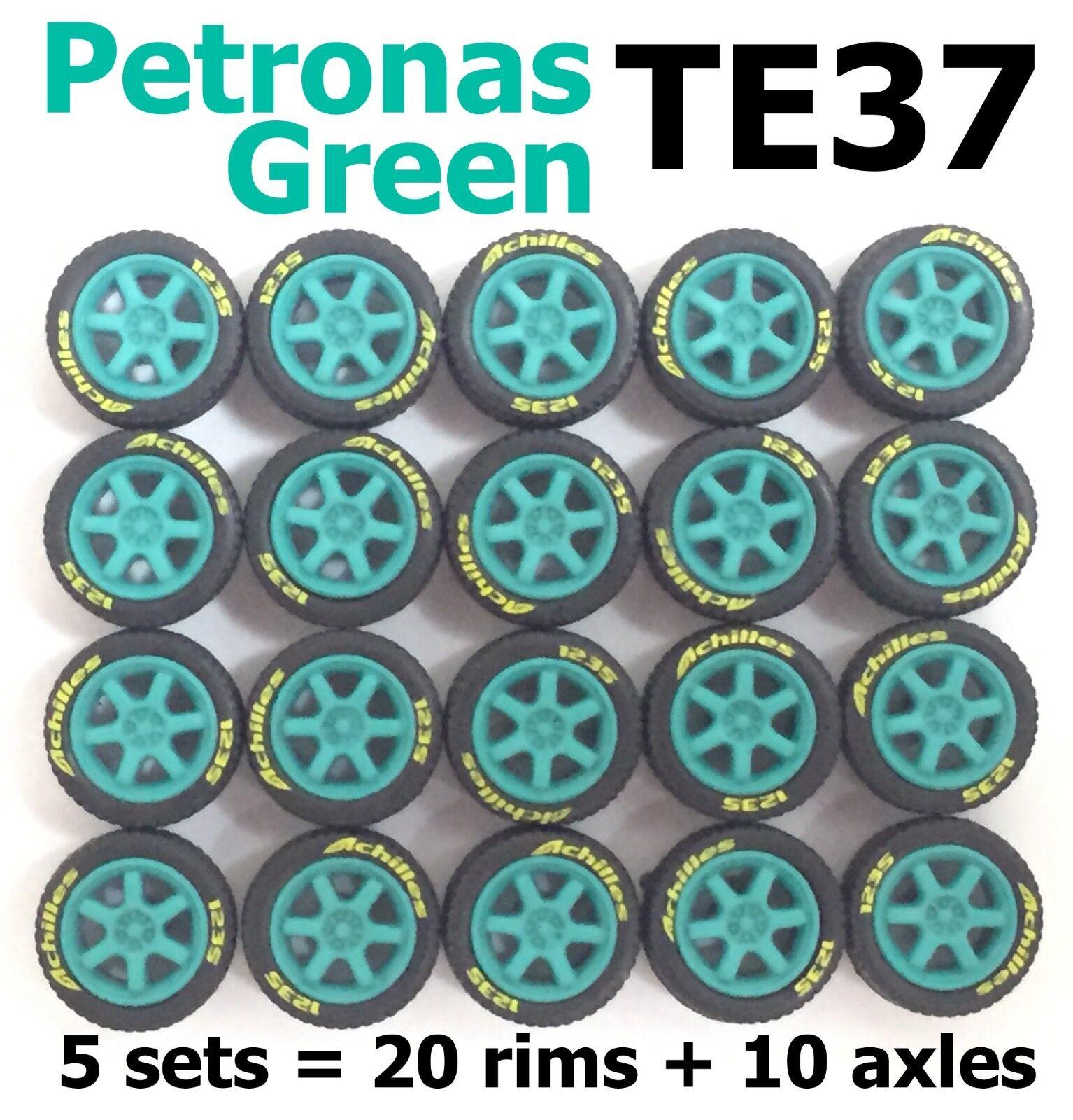 1 64 tires TE37 Petronas Greeen fit Hot Wheels diecast model cars - 5 sets